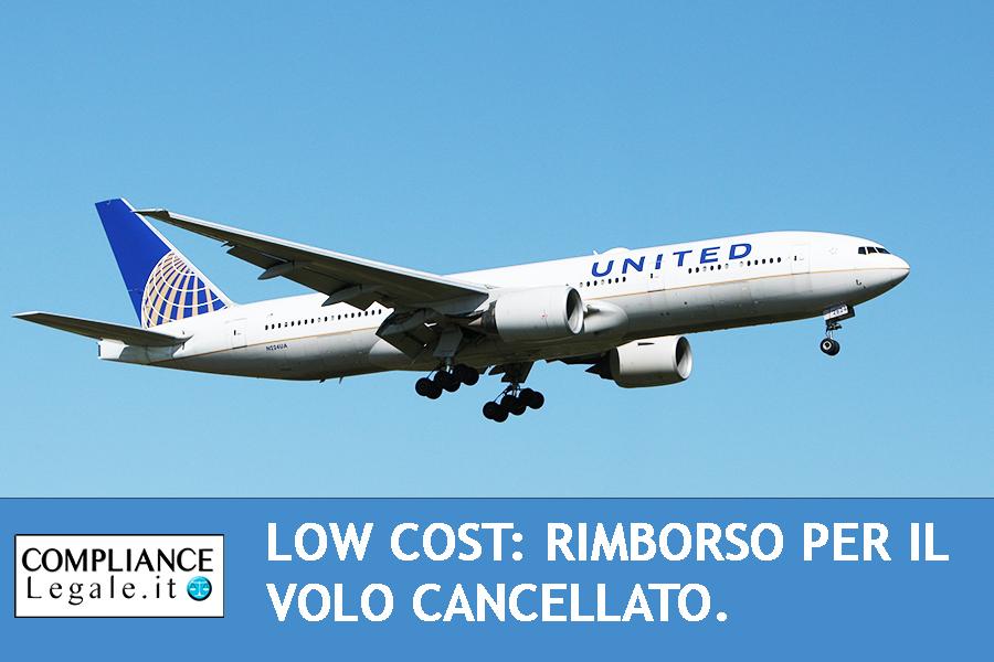 Low Cost: rimborso per il volo cancellato.